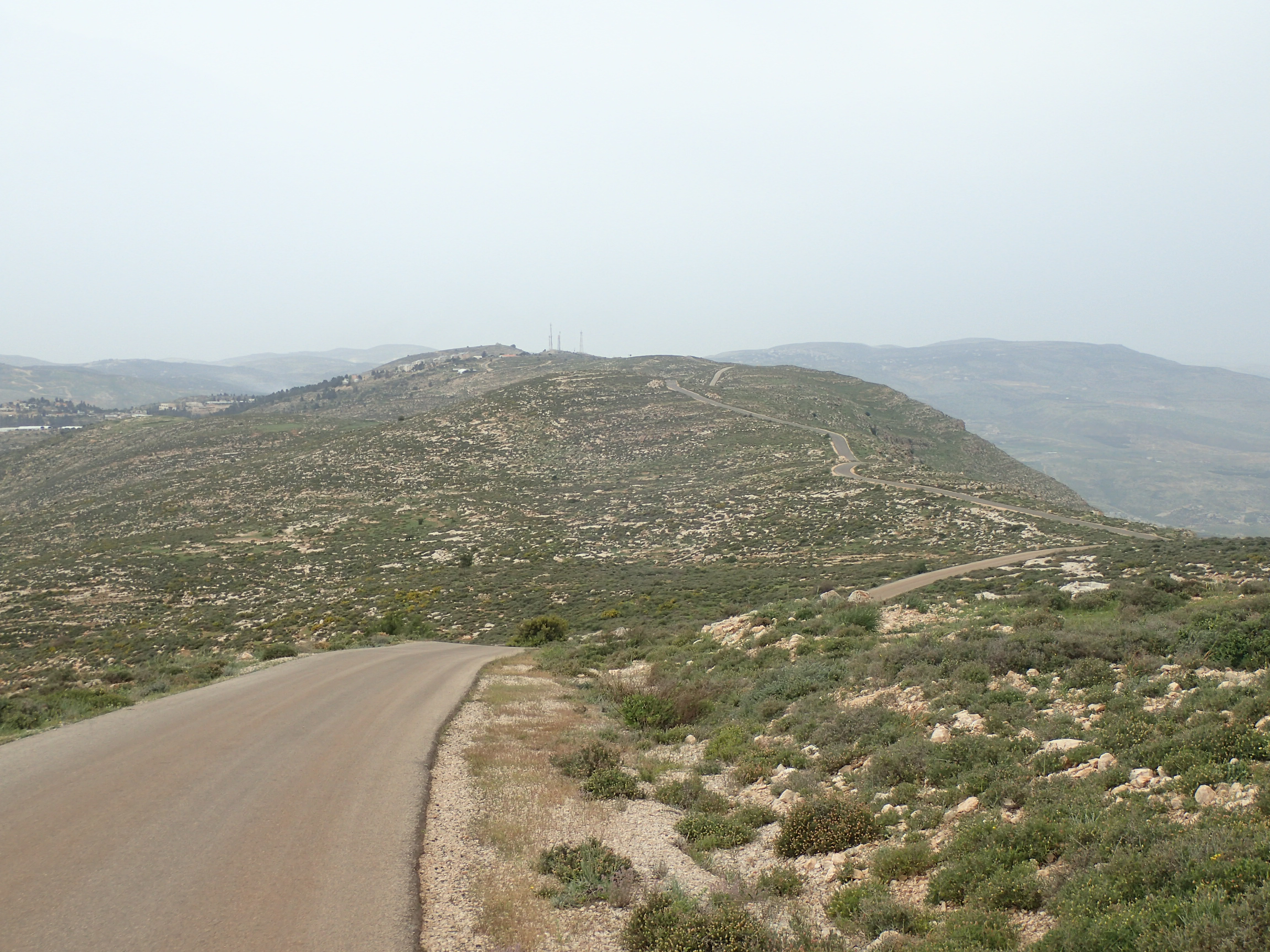 The ridgeline road between Itamar and Givat Ha'Arba'a in the West Bank.